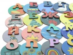 Авторская деревянная азбука. Алфавит на холодильник.
