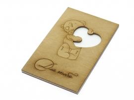 """Деревянная открытка """"Для тебя с медведем"""" тонированная"""