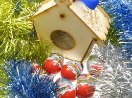 Сладкий подарок на новый год. Кормушка для птиц коробка упаковка.
