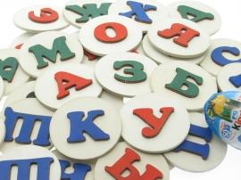Купить набор деревянной магнитной азбуки на холодильник. Раскраска букв на холодильник.