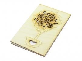 """Деревянная открытка """"Розовый куст"""" натуральная"""