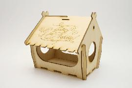 Кормушка для птиц упаковка для сладкого подарка. Домик для детского творчества. Смотреть цены на деревянные заготовки кормушки птиц С днём 8 марта Купить в интернет магазине производителя Шоп Чилдрен Той для сборки своими руками.